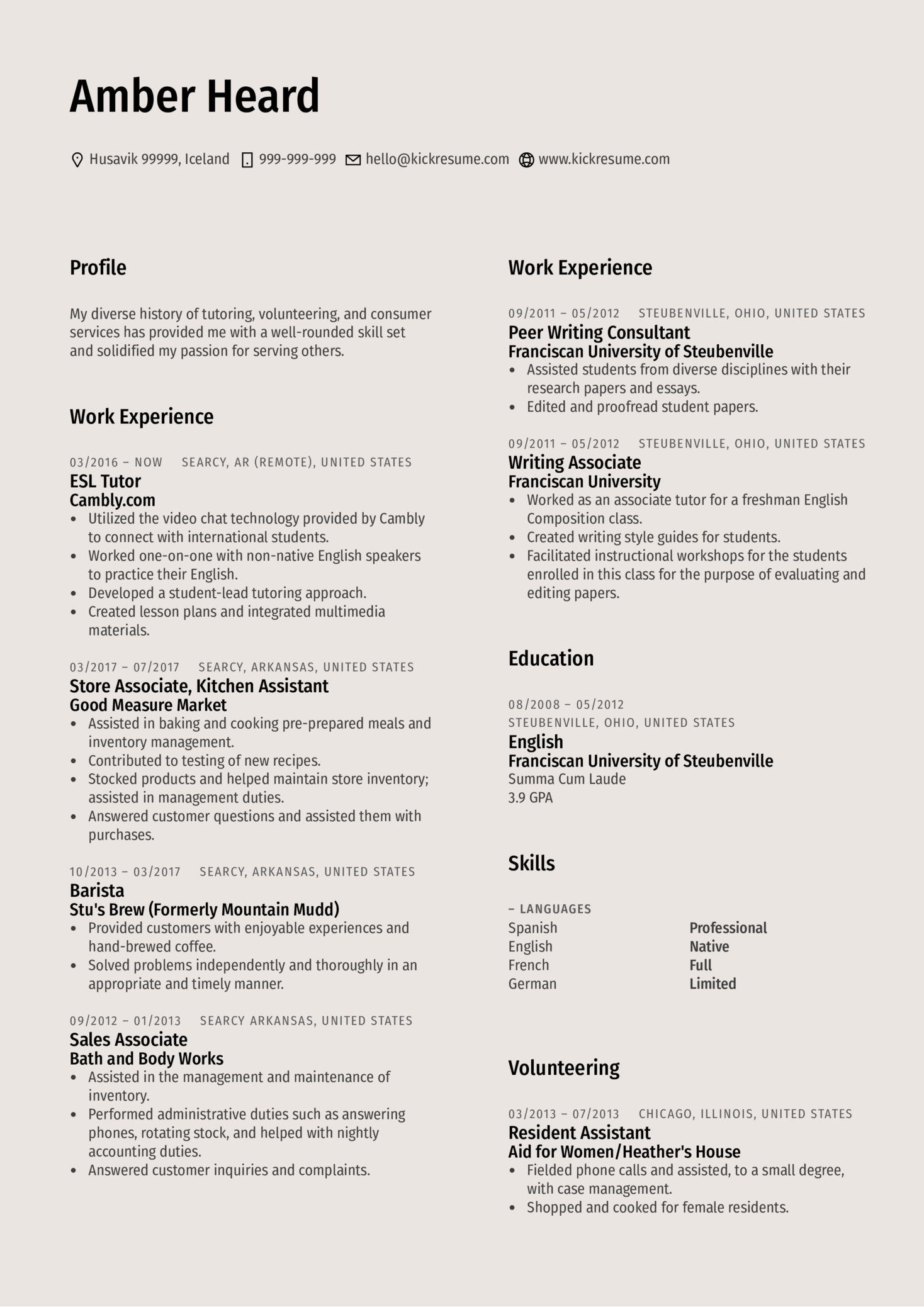 Dean of Women Resume Example (parte 1)
