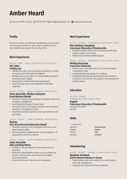 Dean of Women Resume Example