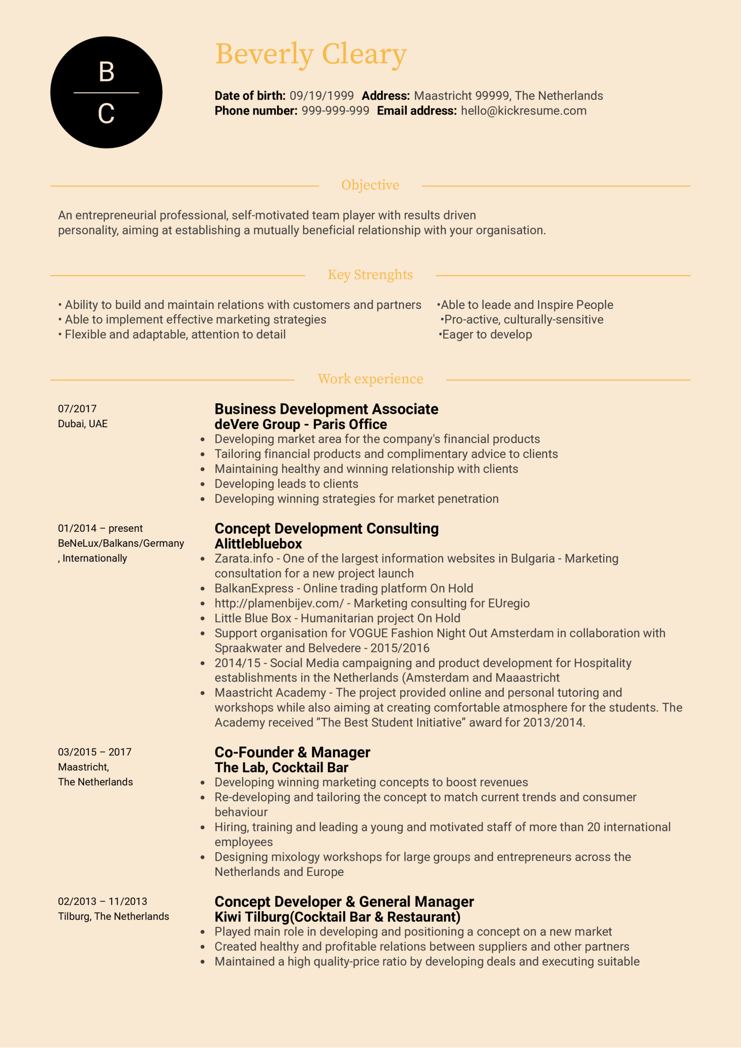 Marketing Manager Resume Sample (Part 1)