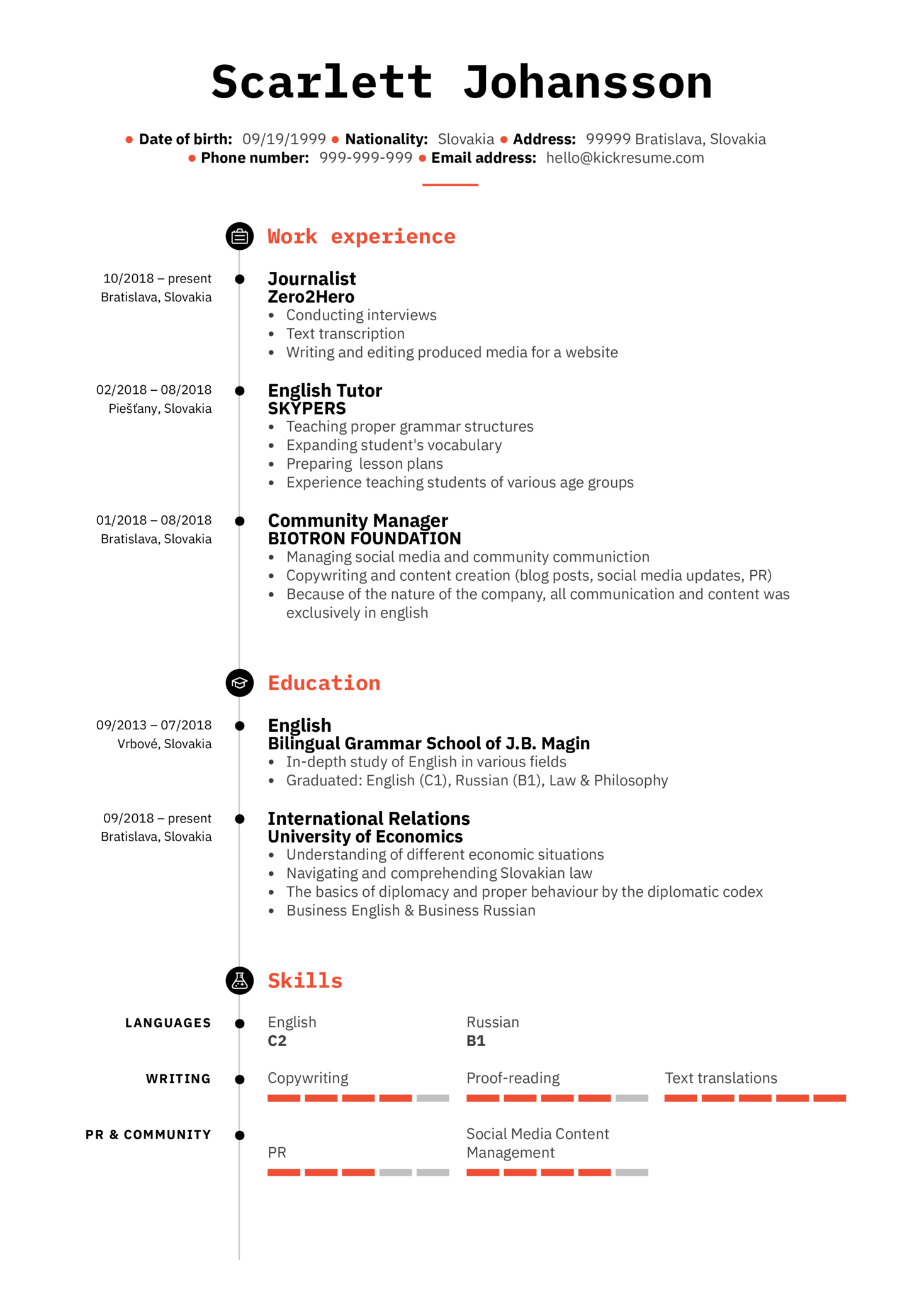 resume examples by real people  english tutor resume