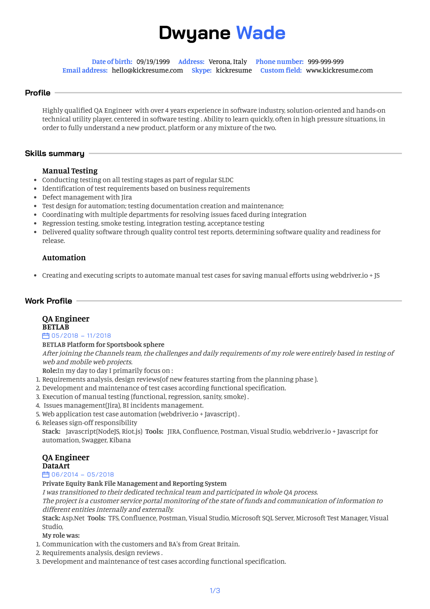 Quality Assurance Engineer Resume Example Kickresume