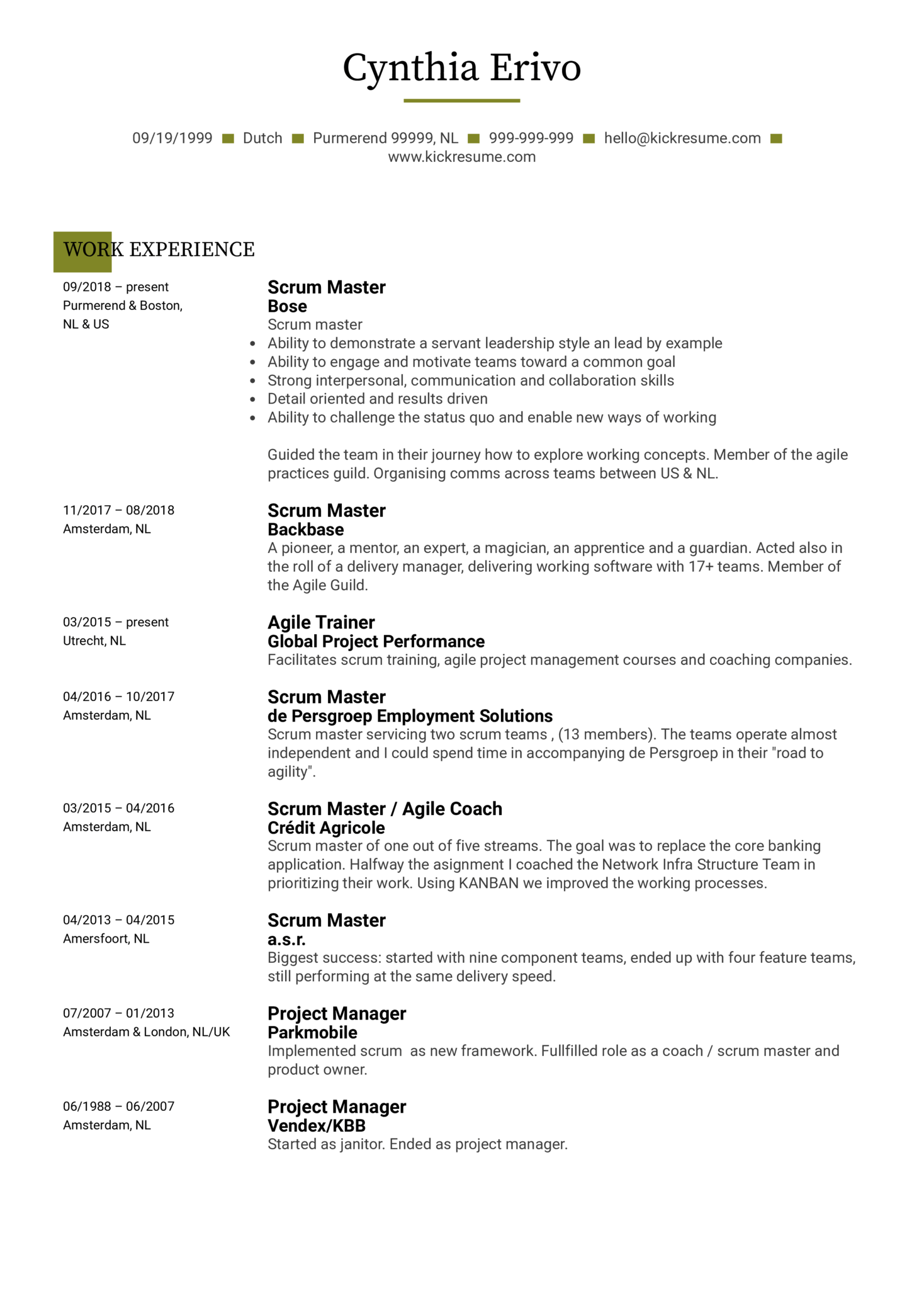 Scrum Master Resume Sample Kickresume