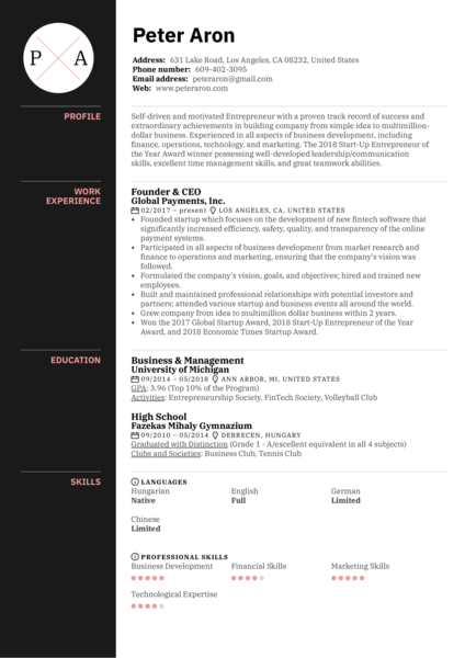 startup    business resume samples from real professionals who got hired