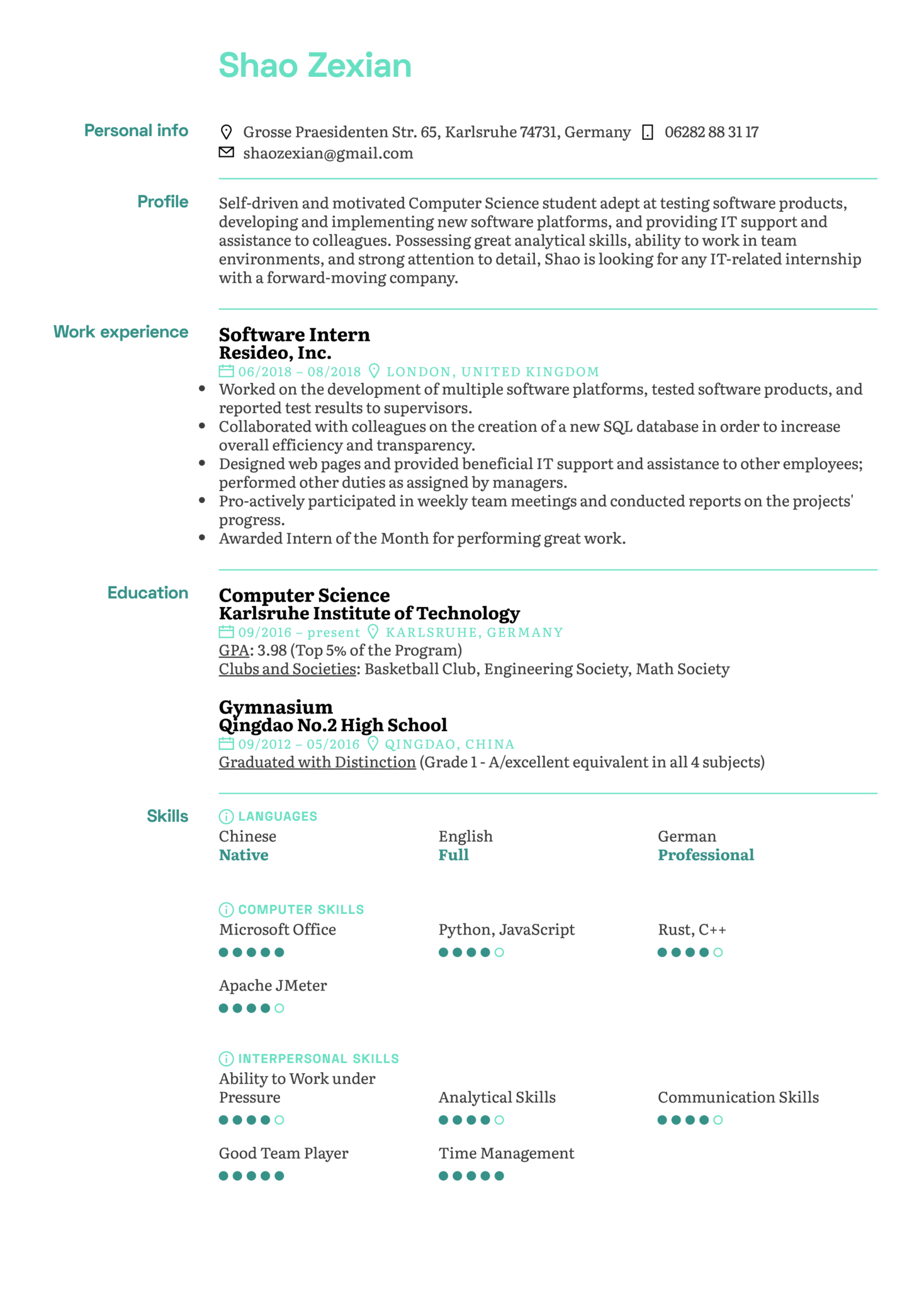 Software Intern Resume Template