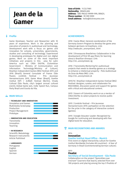 Game Developer, Teacher, Researcher Resume Sample  What To Write In Skills Section Of Resume