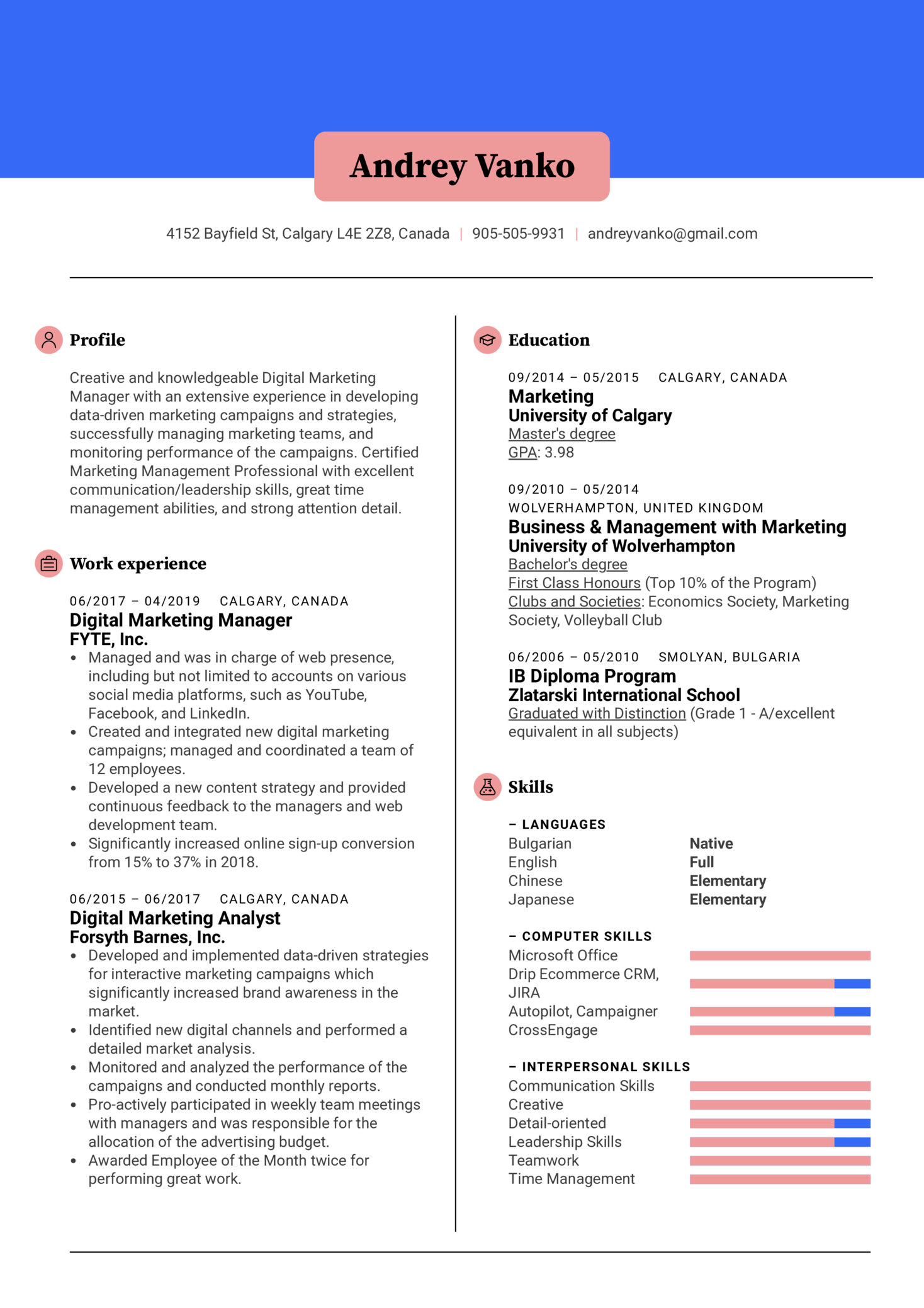 Digital Marketing Manager Resume Sample Kickresume