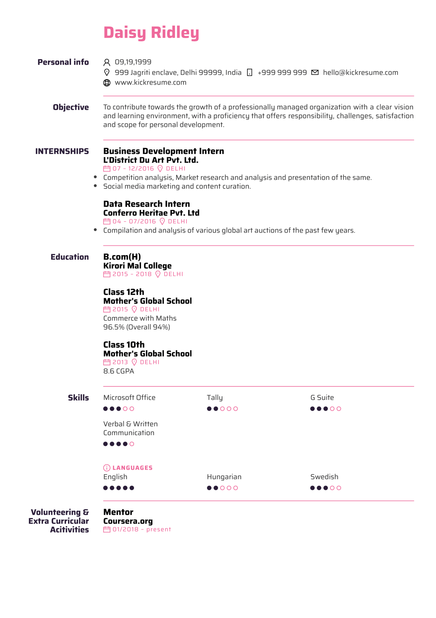 EY Junior Assurance Associate Resume Sample (parte 1)