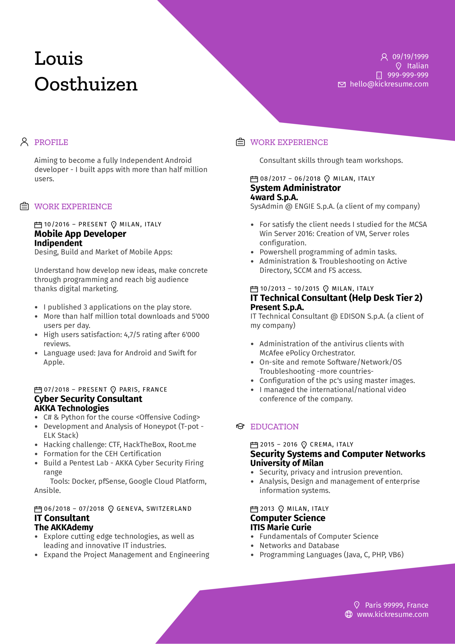 Mobile Software Engineer Resume Example (Teil 1)