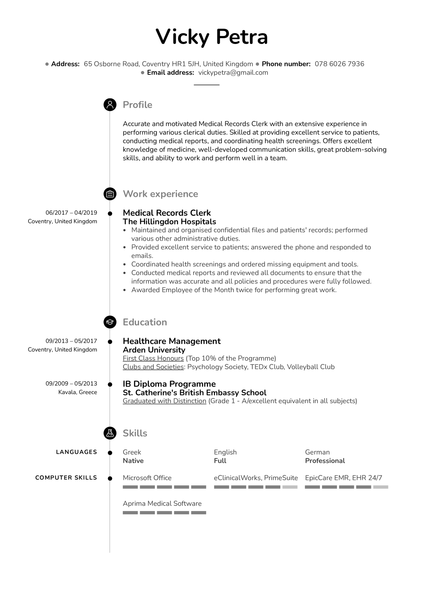 Resume Examples by Real People: Medical Records Clerk Resume