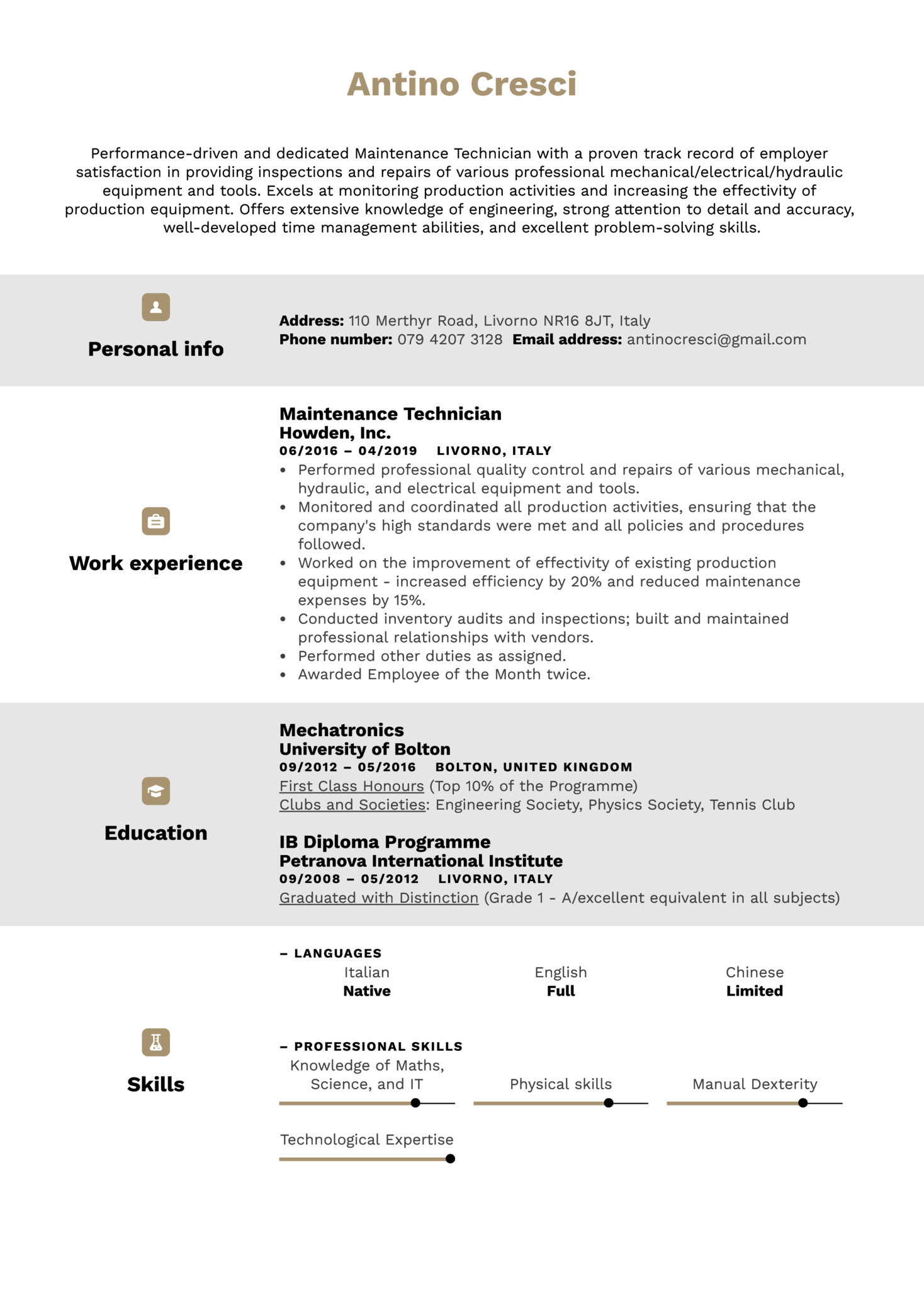 Maintenance Technician Resume Example (Teil 1)