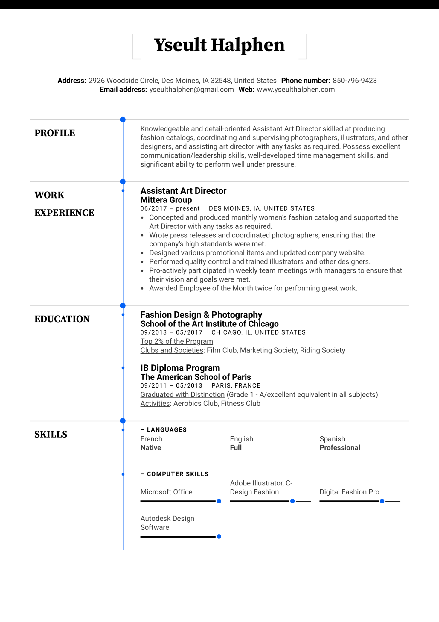 resume examples by real people  assistant art director