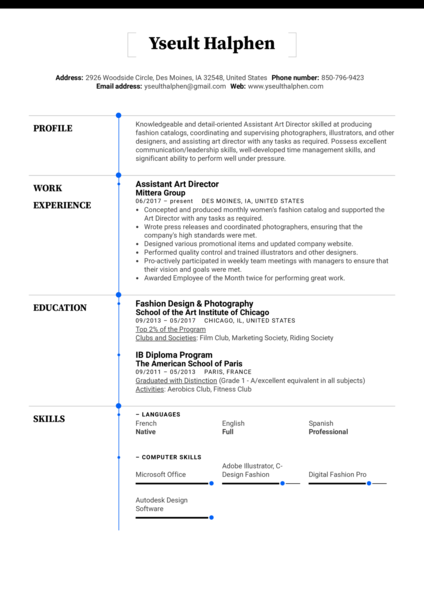 Assistant Art Director Resume Example