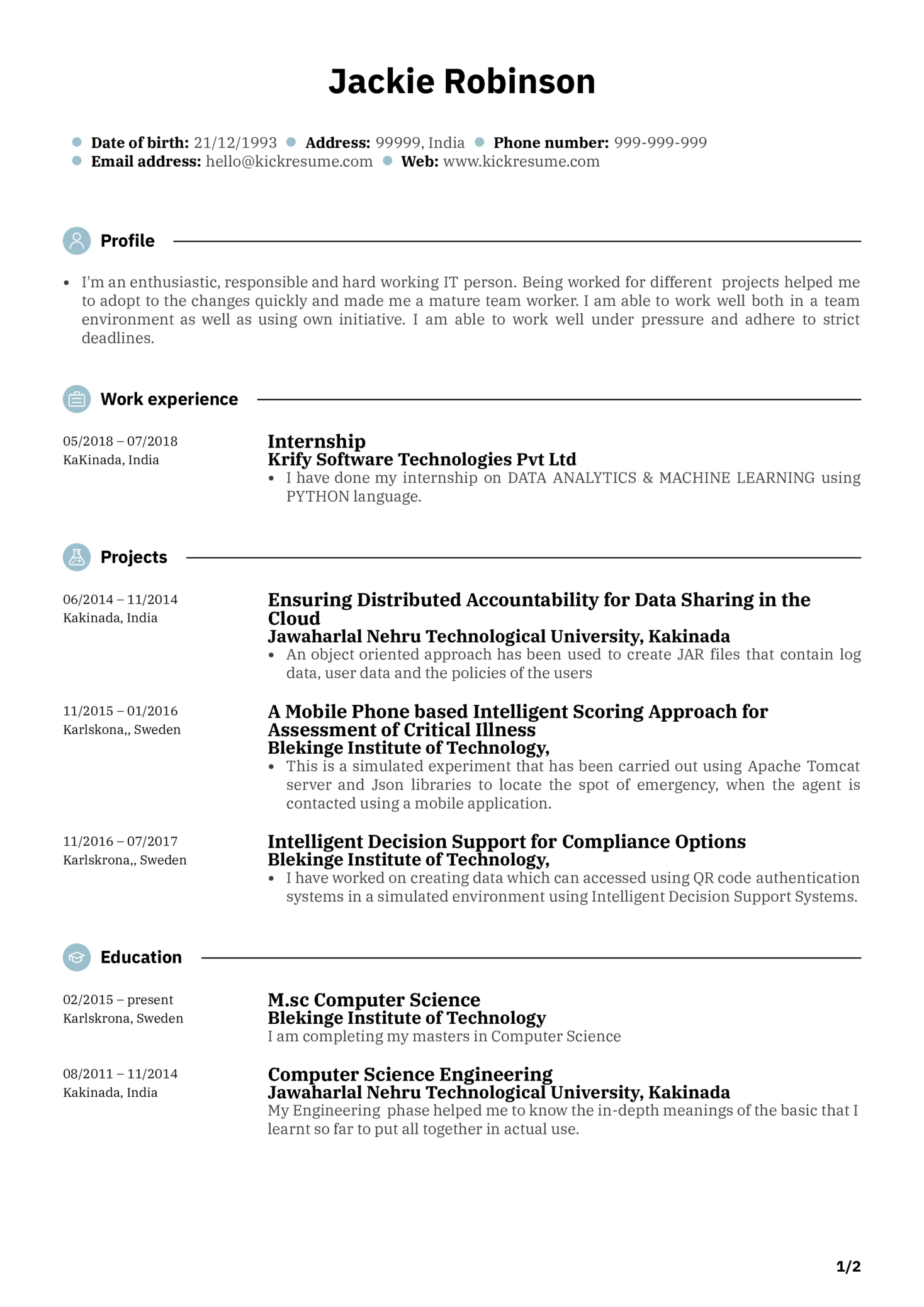 Junior Software Engineer Resume Sample Kickresume
