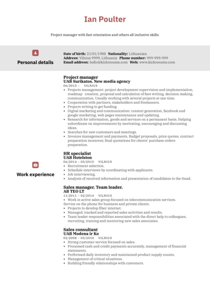 Experienced Project Manager CV Sample