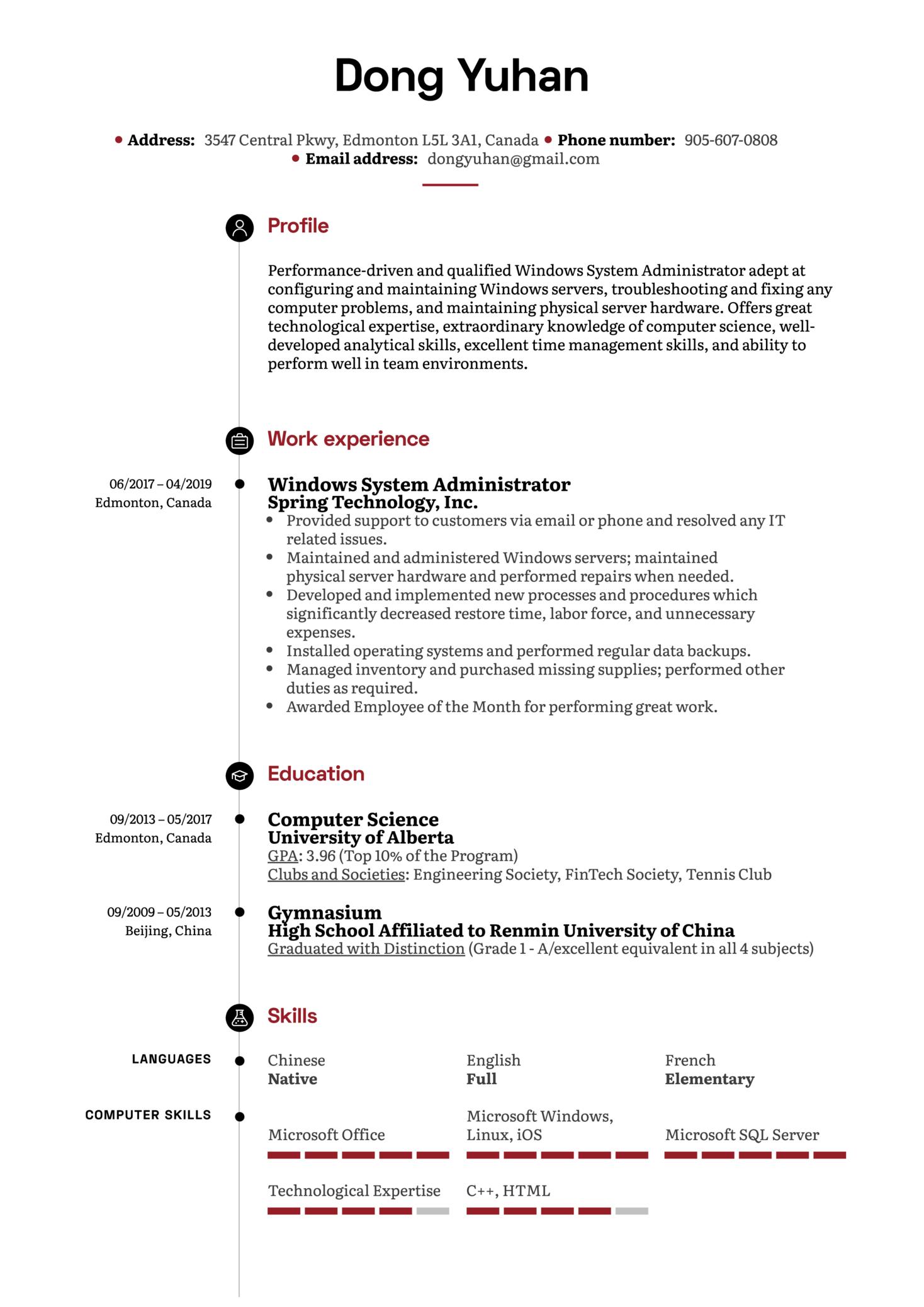 Windows System Administrator Resume Sample (Part 1)