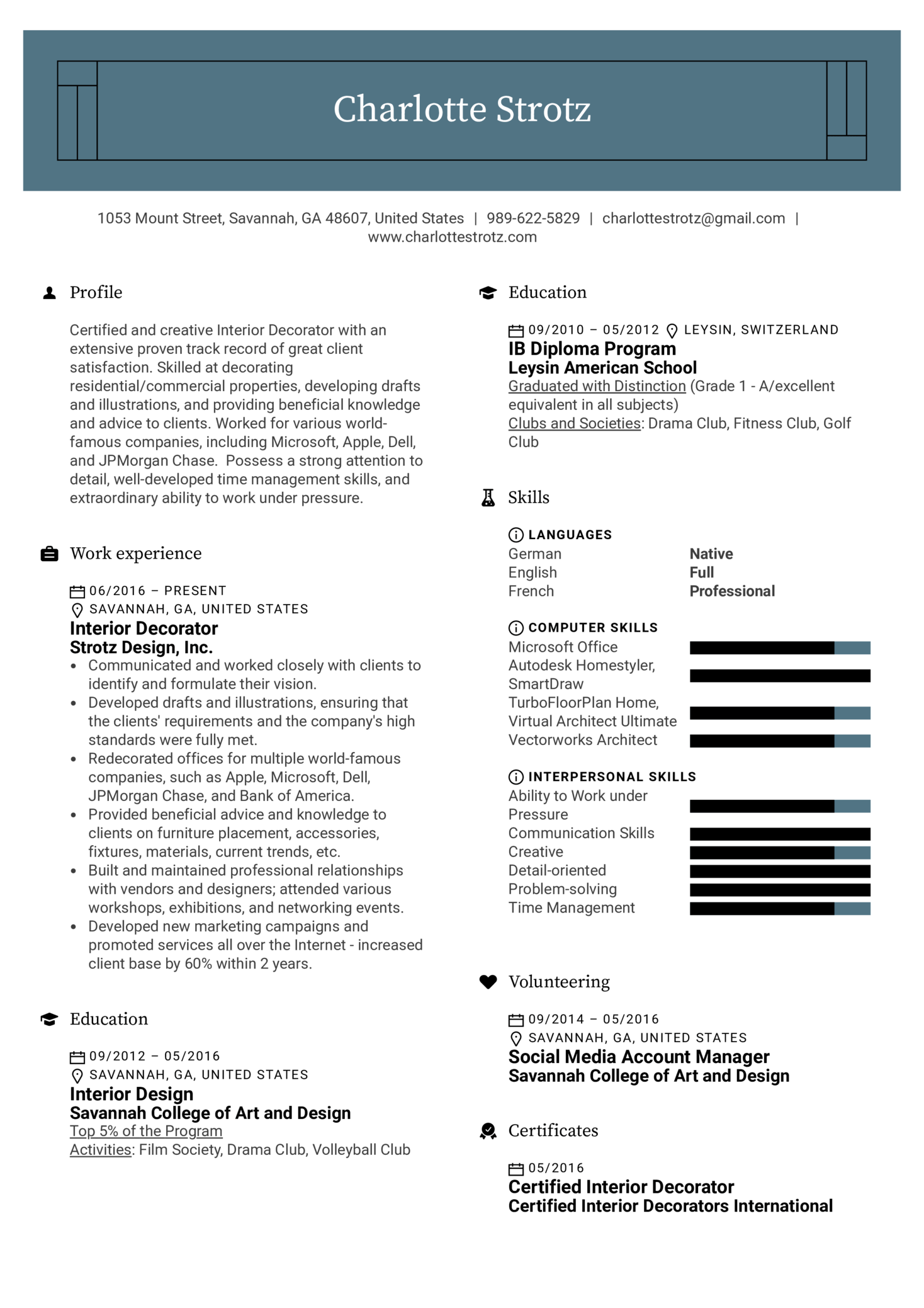 Interior Decorator Resume Example Kickresume