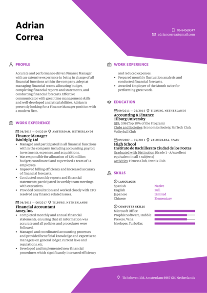 Finance Manager Resume Sample