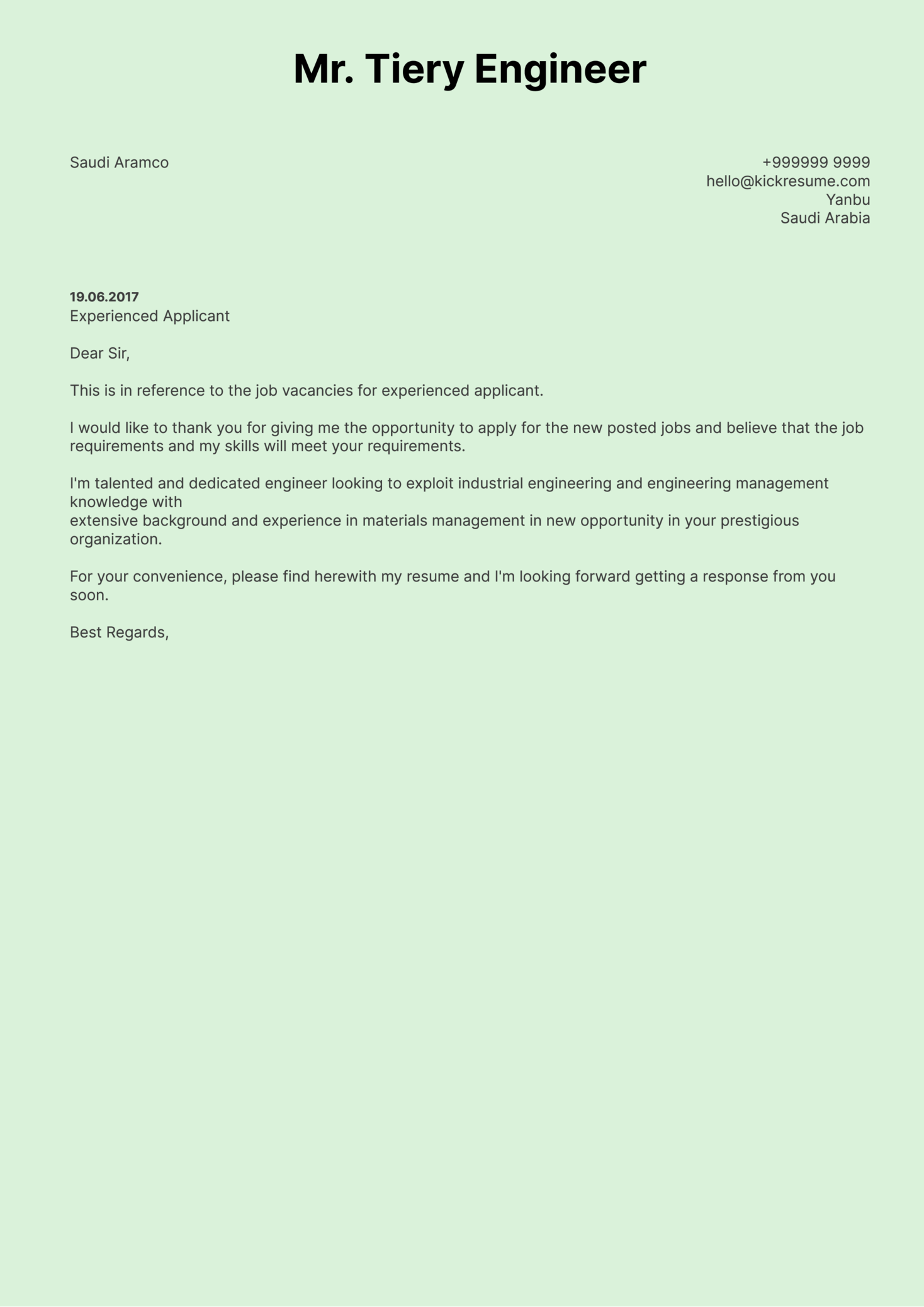 Cover Letter Examples by Real People: Saudi Aramco process engineer ...