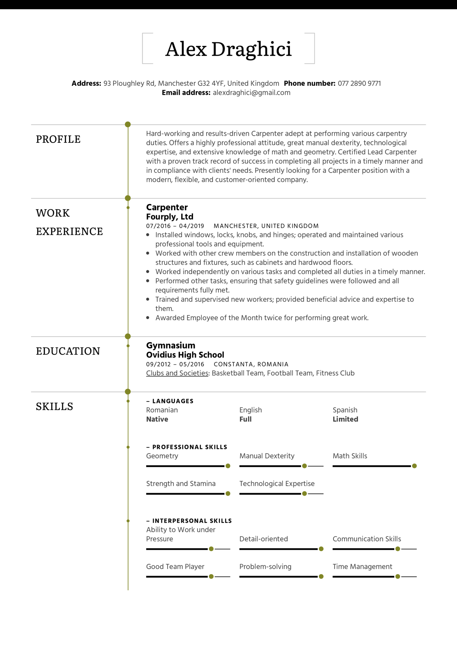 resume examples by real people  carpenter resume example