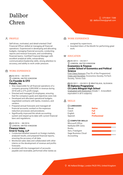 CFO Resume Example