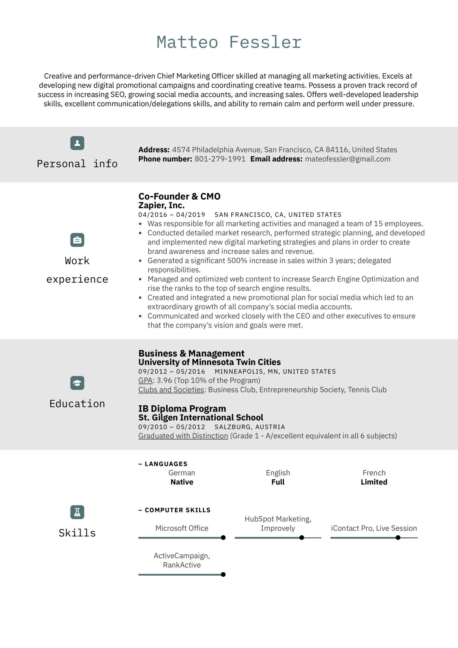 resume examples by real people  cmo resume example