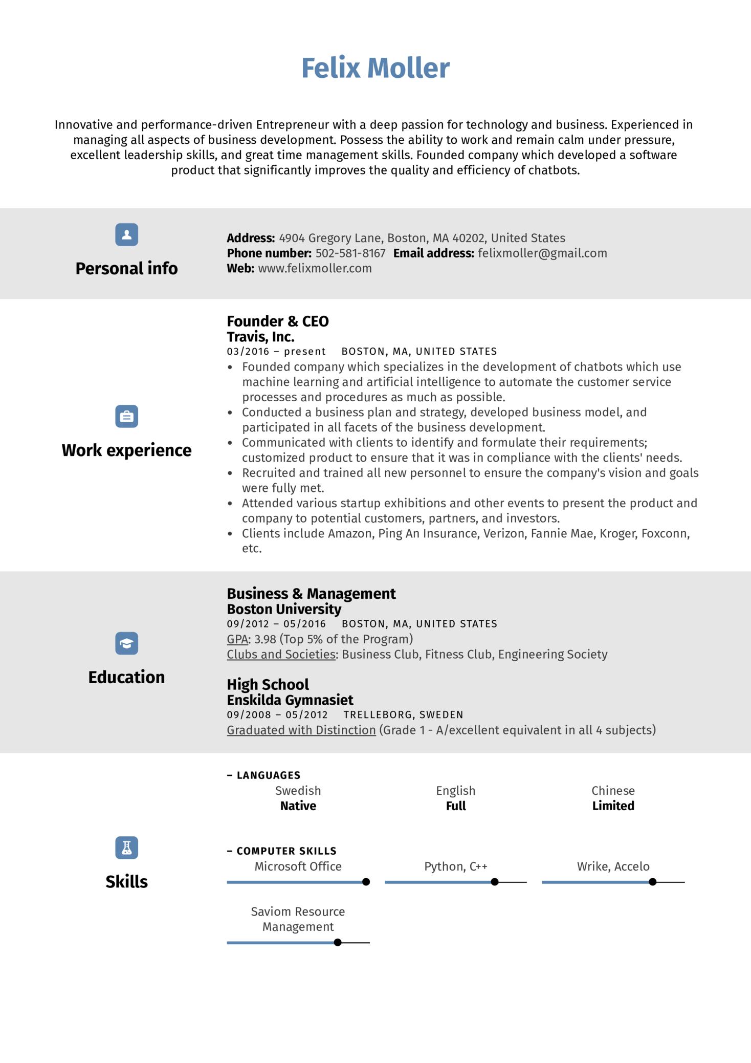 Entrepreneur Resume Sample (parte 1)