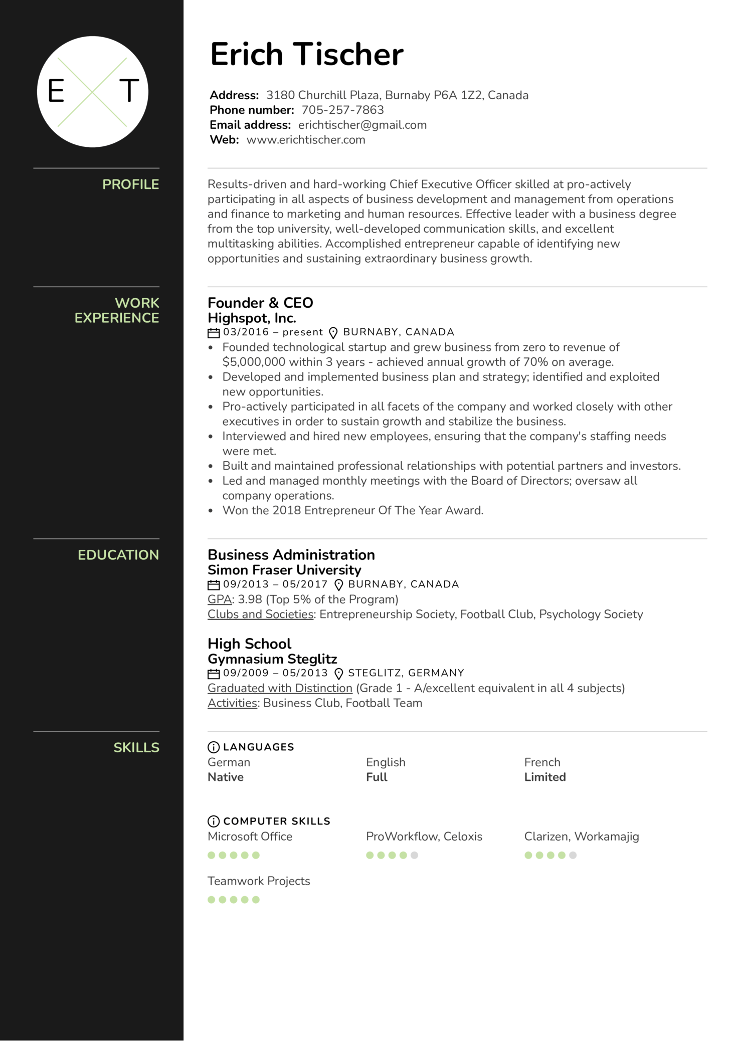 Ceo Resume Example Kickresume