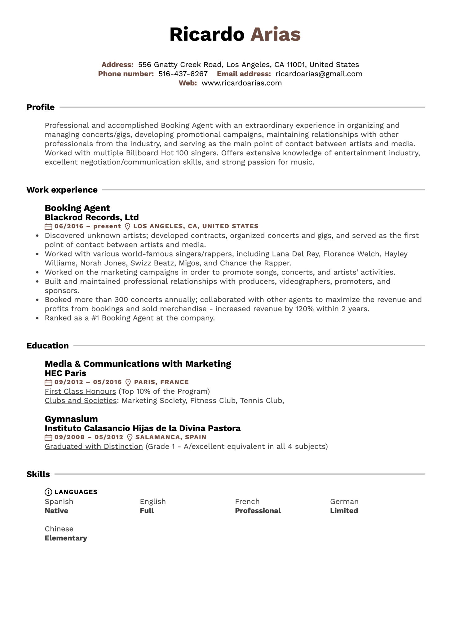 Booking Agent Resume Sample (parte 1)