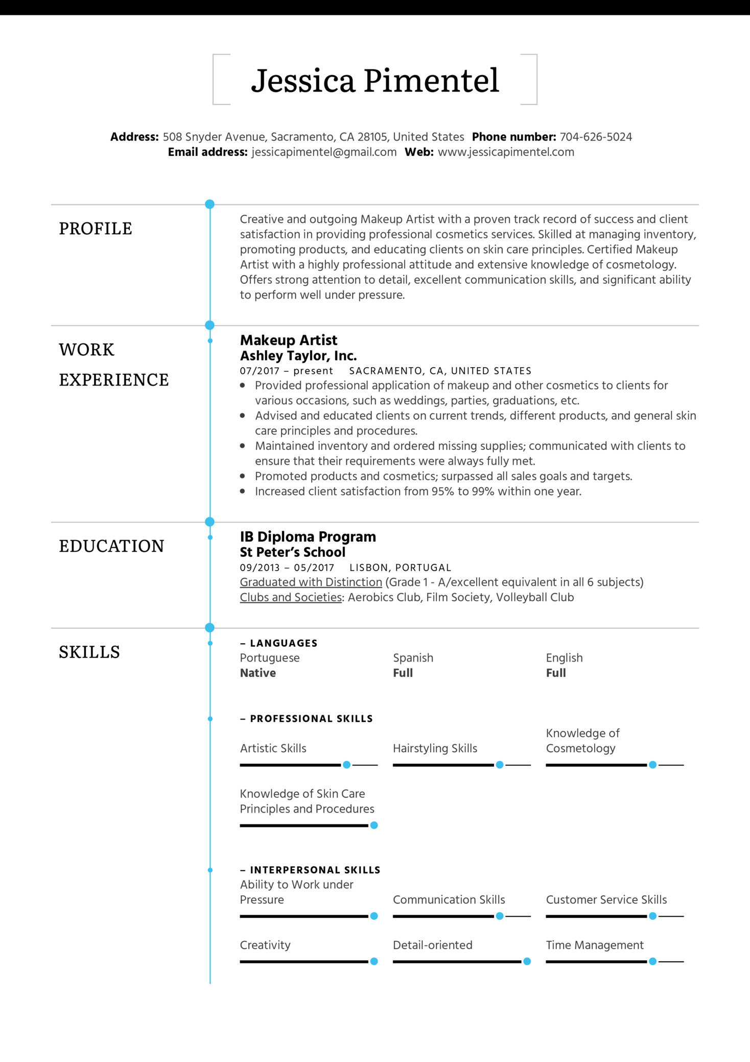 resume examples by real people  makeup artist resume