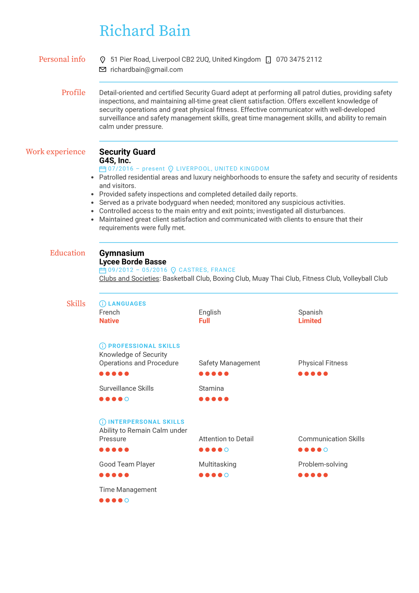 resume examples by real people  security guard resume
