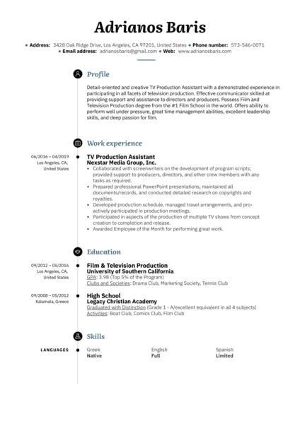 TV Production Assistant Resume Example