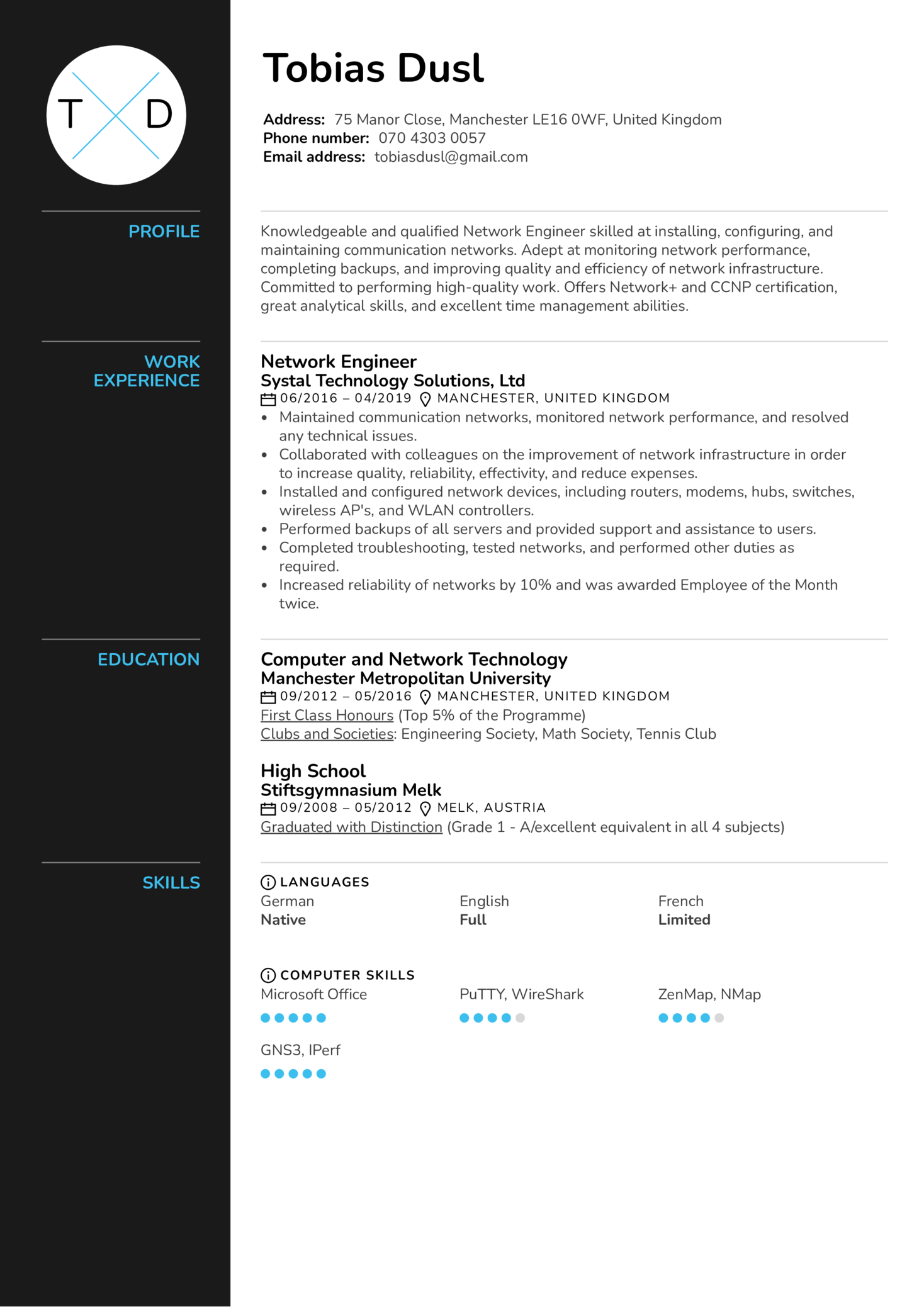 Network Engineer Resume Sample Kickresume