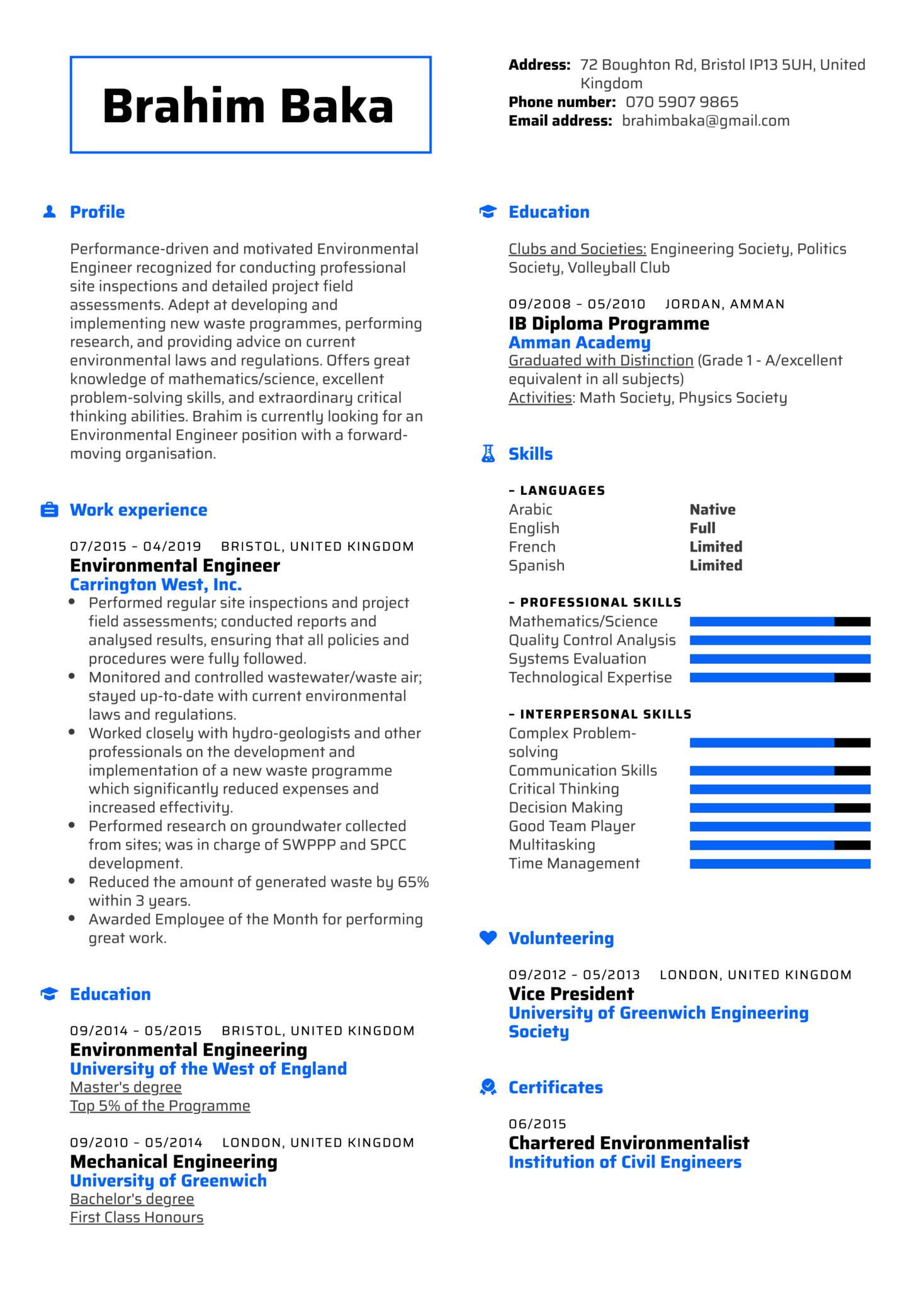 Environmental Engineer Resume Example