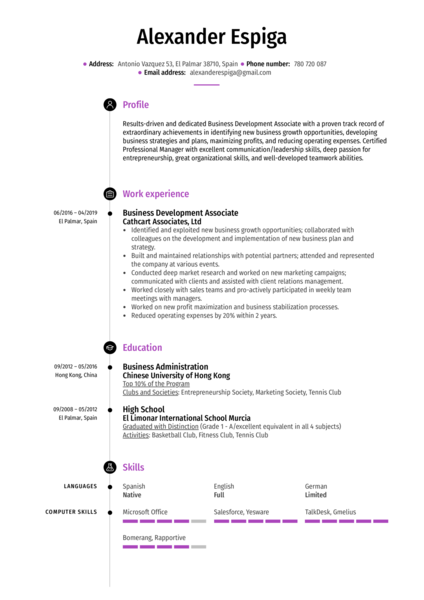 Business Development Associate Resume Sample