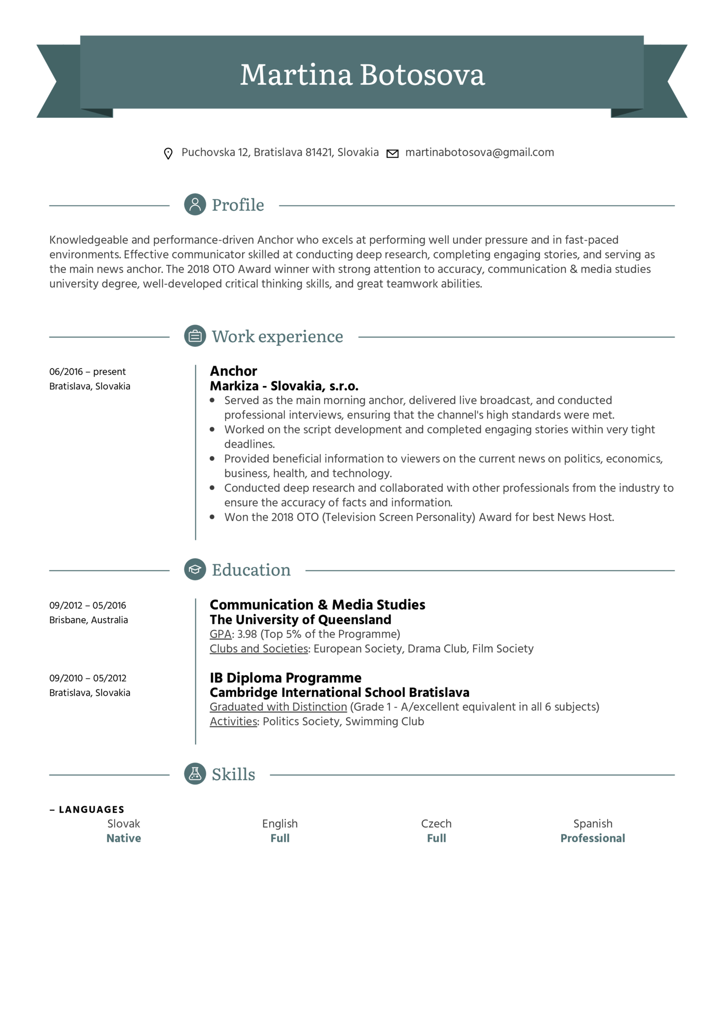 Anchor Resume Sample
