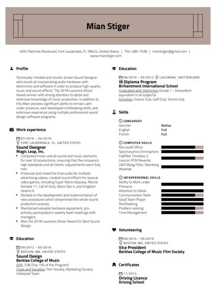 Sound Designer Resume Sample