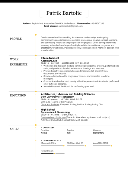Intern Architect Resume Example