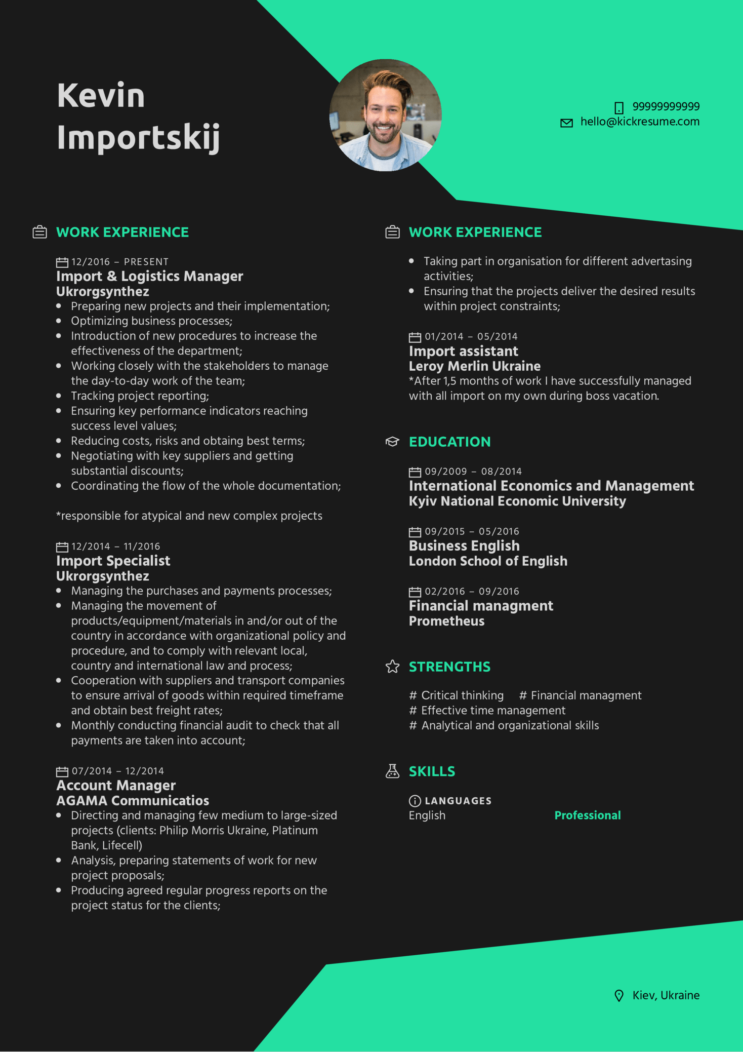 resume examples by real people  import  u0026 logistics manager