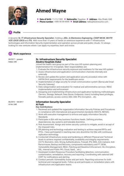 Sr. IT infrastructure security specialist resume sample