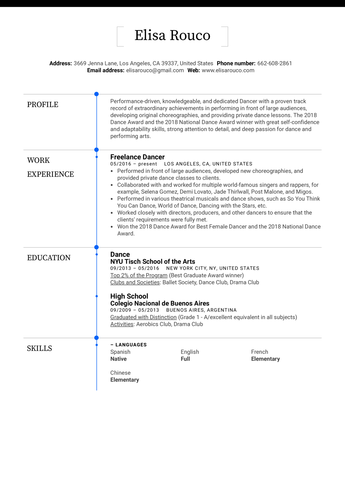 dancer resume template