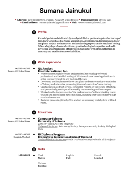 QA Analyst Resume Example