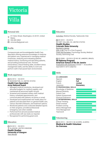 Health Care Specialist Resume Example
