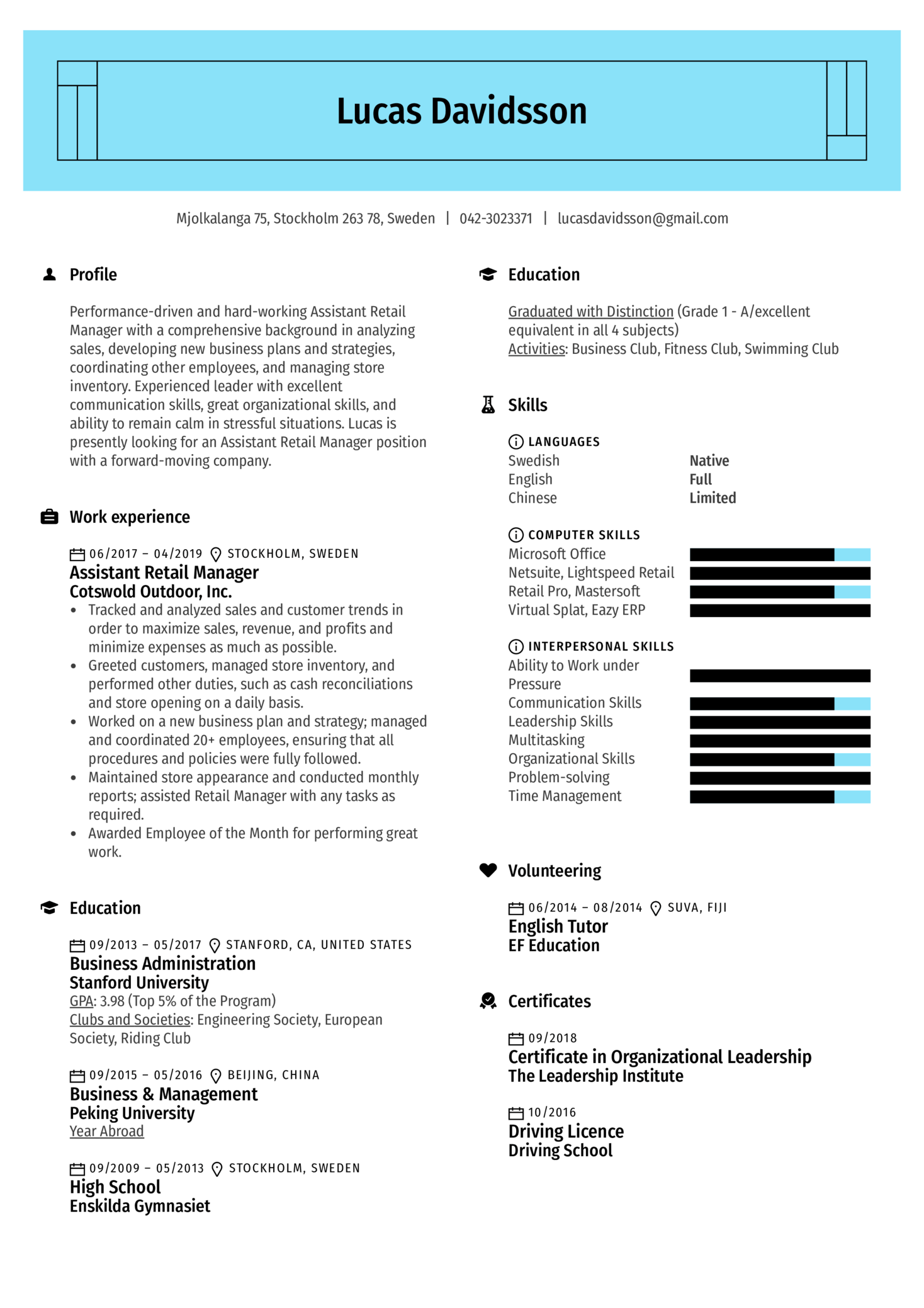 Assistant Retail Manager Resume Sample Kickresume