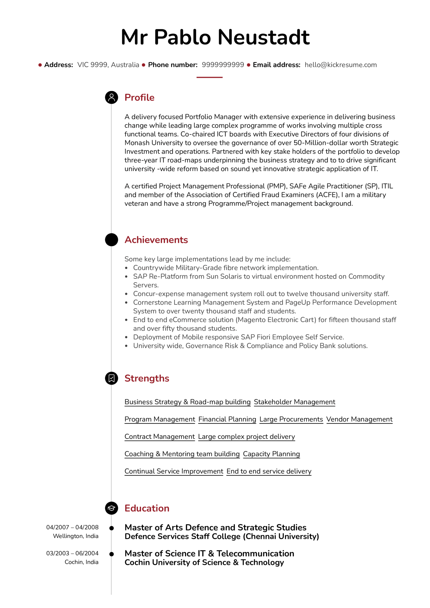 senior project manager resume sample