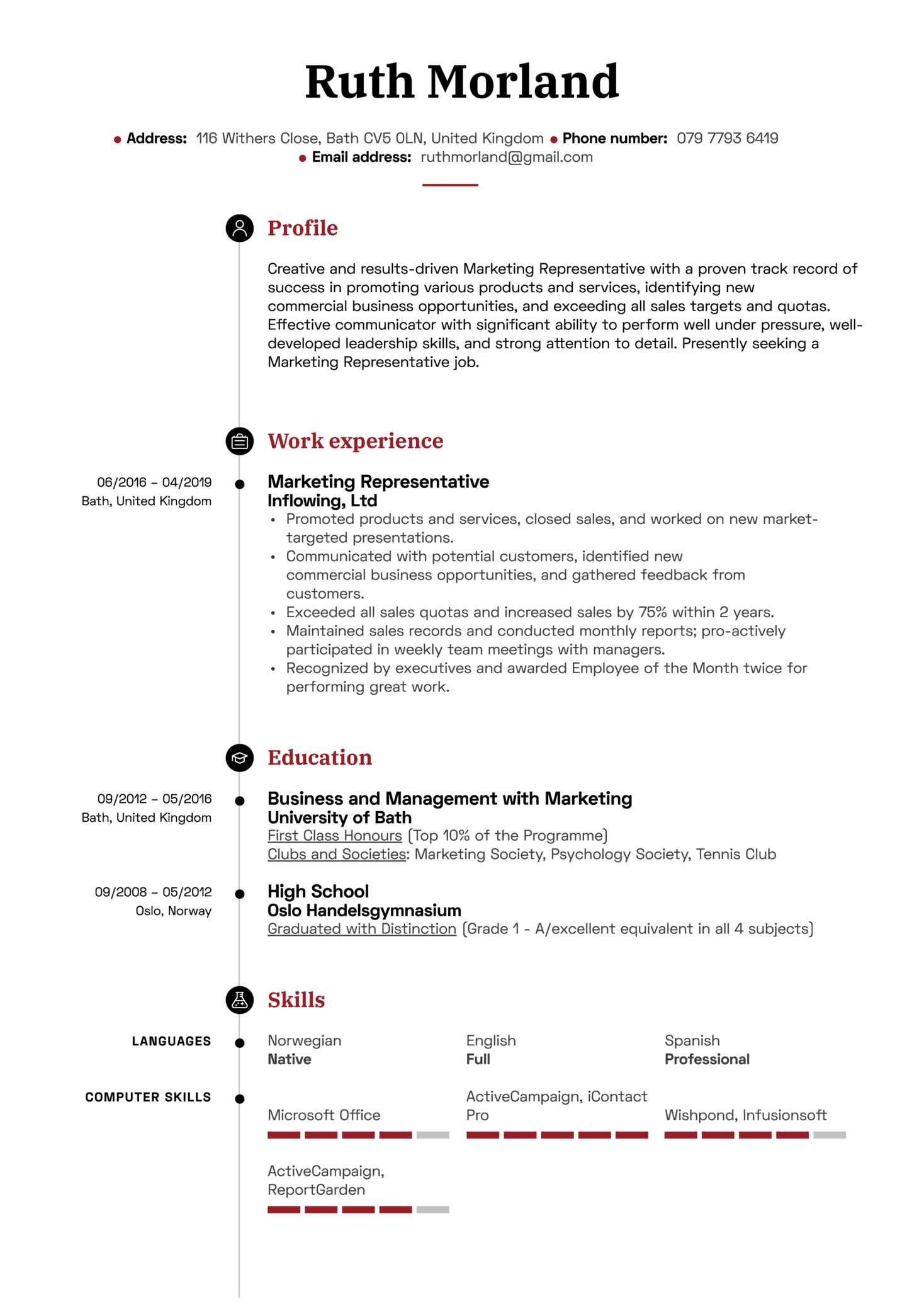 Marketing Representative Resume Sample (parte 1)