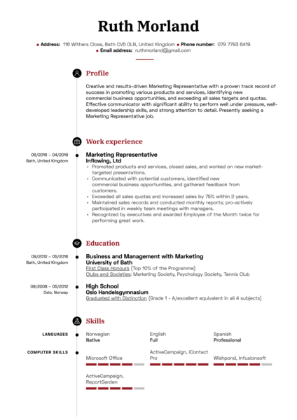 Marketing Representative Resume Sample
