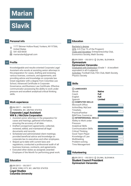 Corporate Legal Assistant Resume Sample