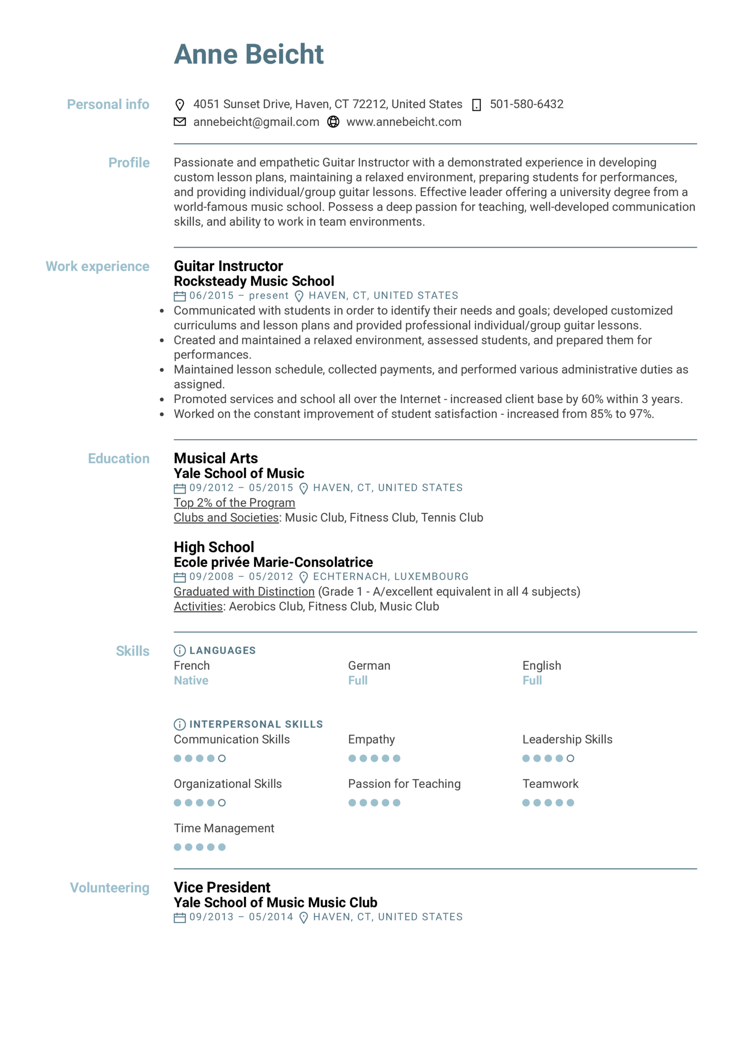 resume examples by real people  guitar instructor resume example