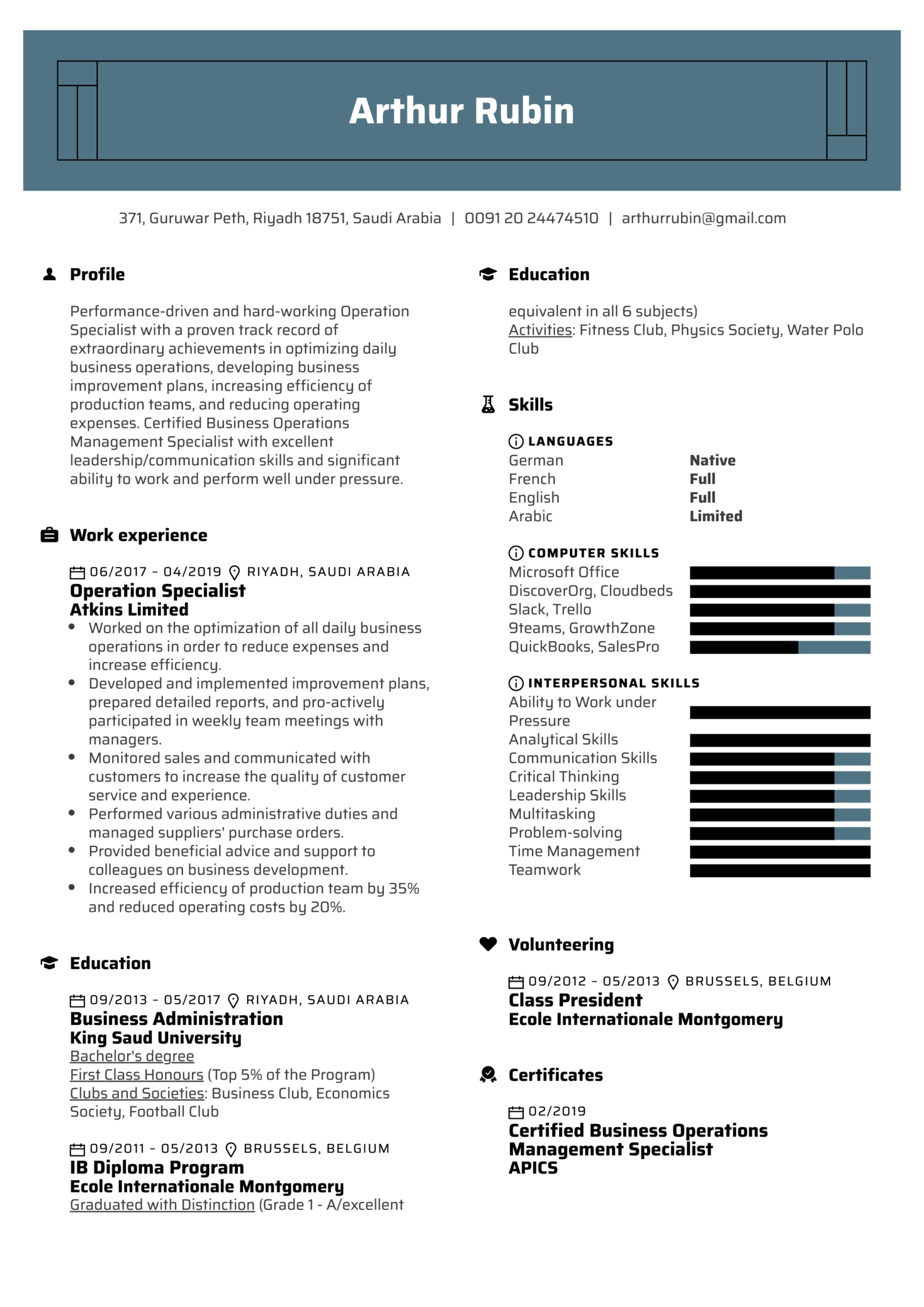 Operation Specialist Resume Example