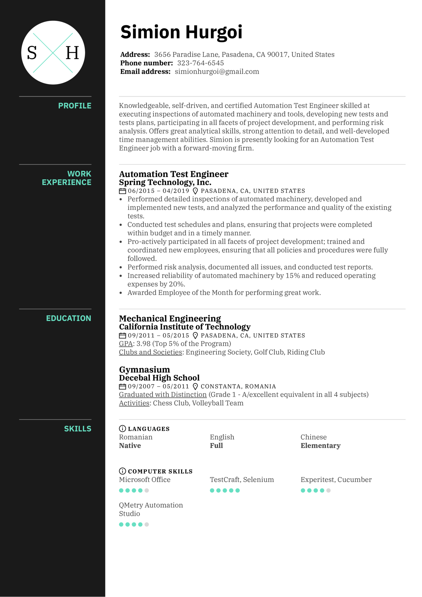 Automation Test Engineer Resume Sample (Part 1)